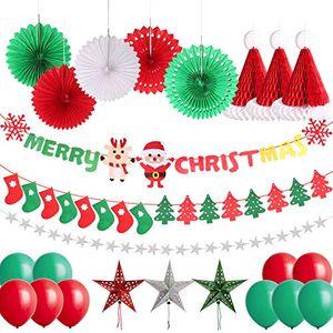 Angebote für -delicacy weihnachten dekoration set 25 pcs dekorationen frohe weihnachten girlande banner mit schneeflocken schneemann weihnachtsbaum socken flagge und schneeflocken hängende dekoration luftballons
