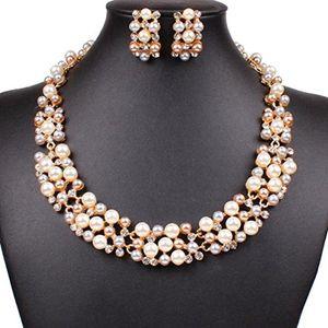 Angebote für -lclrute halskette damen multi row strand perle perlen torsade lätzchen halskette ohrringe set