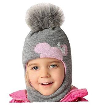 Angebote für -mädchen schlupfmütze wintermütze ballonmütze beanie für mädchen 3 6 jahre alt 50 54 cm kopfumfang sehr dehnbar in 9 farben grau rosa a