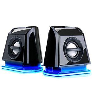 Hot gogroove pc lautsprecher für computer laptop kleine 20 stereo speaker mit blauen led lights leistungsstarkem bass und passiven subwoofern usb betrieben