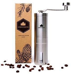deals for - hand kaffeemühle mit keramik mahlwerk von groenenberg manuelle kaffeemühle espresso mühle edelstahl stufenlose mahlgradeinstellung