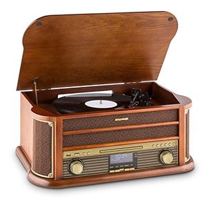Buy auna • belle epoque 1908 • retroanlage • plattenspieler • stereoanlage • digitalradio • dab • plattenspieler • radio tuner • bluetooth • cd player • mp3 fähig • rds funktion • kassettendeck • usb port • digitalisierungsfunktion • fernbedienung • braun