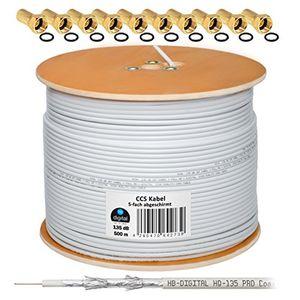 deals for - 135db 500m hb digital koaxial sat kabel 5 fach geschirmt weiß für ultra hd 4k dvb s s2 dvb c und dvb t bk anlagen 100 vergoldete f stecker set gratis dazu