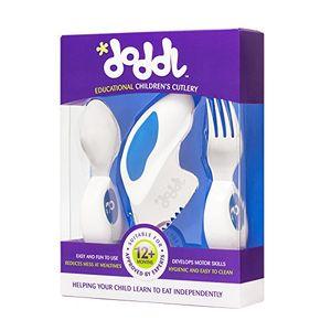 ofertas para - juego de cubiertos doddl azul arándano juego de cuchillo tenedor y cuchara para bebés o niños a partir de 12 meses