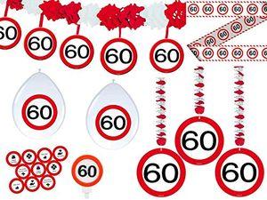 deals for - 23 tlg partyset 60 geburtstag dekoset dekobox verkehrschild girlanden luftballons