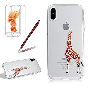 Angebote für -transparent silikon hülle für iphone x girlyard weiche tpu bumper case mit niedlich giraffe muster entwurf ultra dünn flexible crystal clear backcover anti kratz anti fingerabdruck schutzhülle für apple iphone x