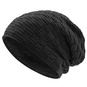 Review for warme wintermütze für herren damen wincret slouch beanie mütze mit teddyfleece gefüttert winter long warm beanie mit flecht muster