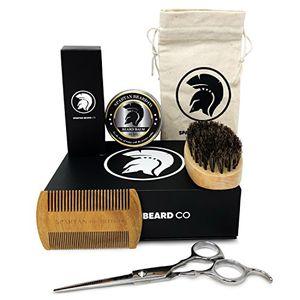 ofertas para - spartan beard co kit de limpieza y recorte para barba incluye aceite de barba mantequilla de bálsamo de barba cera cepillo de barba peine de barba tijeras de barbero el mejor juego de barbería para dar estilo y crecimiento caja de regalo premium el mejor regalo para la barba masculina