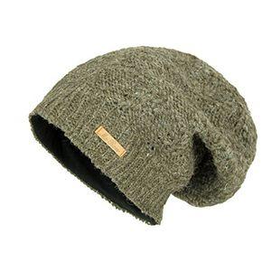mcron wollmütze lina naturdunkelbraun für damen mütze beanie slouch strickmütze wintermütze warm gefüttert