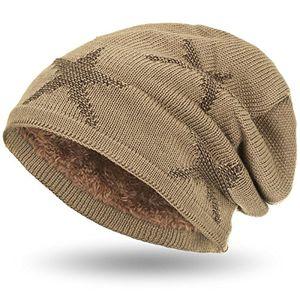 compagno warm gefütterte beanie wintermütze sternen strickmuster mit weichem fleece futter mütze farbehellbraun braun