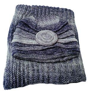 damenmütze winterset strickset mütze schal loopschal strickmützen wintermützen graublau