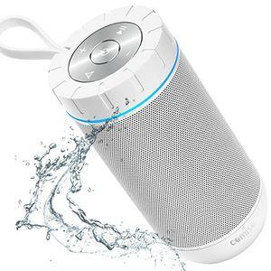 Review for comiso bluetooth lautsprecher genießen sie laut 360°surround sound lauteste 12w portable stereo wasserdicht beste bass funklautsprecher mit 36 stunden spielzeit und mikrofon weiß