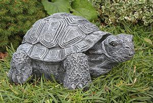 deals for - gartenfigur schildkröte groß schiefergrau deko figur garten stein frostsicher