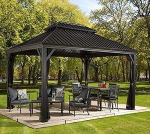 deals for - aluminium pavillon überdachung gazebo messina 12x16 363x483 cm bxh sommer pavillon und gartenlaube mit hard top dach von sojag