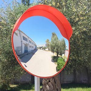 deals for - ecm 60 o2 o konvex spiegel orange farbe 60 cm durchmesser für verkehrssicherheit und schutz vor ladendieben mit einstellbarem befestigungsbügel für 60 mm stangen