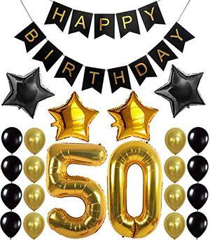 """50 geburtstag party dekoration set happy birthday banner """"50"""" golden ballon latex und sternfolie ballon perfekt für die vorbereitung der 50 geburtstagparty"""
