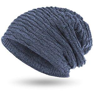 compagno wintermütze warm gefütterte mütze sportlich elegantes wabenmuster mit weichem fleece futter beanie meliert farbejeansblau