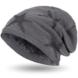Top compagno warm gefütterte beanie wintermütze sternen strickmuster mit weichem fleece futter mütze farbegrau schwarz