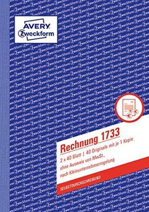 deals for - avery zweckform 1733 rechnung kleinunternehmer a5 selbstdurchschreibend 2x40 blatt weißgelb