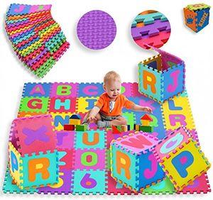 Hot kidiz® spielmatte 86 tlg spielteppich puzzlematte kinderteppich matte schutzmatte kinderspielteppich schaumstoffmatte abc bunt lernteppich puzzleteppich puzzle zahlen und buchstaben