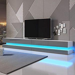Cheap aviator double tv lowboard tv schrank hängeboard 280 cm weiß matt mit hochglanzfronten in grau mit leds