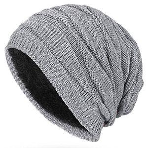 kuyou winter beanie mütze slouch strickmütze mit warmem fleece innenfutter grau