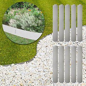 deals for - mctech® 10 x rasenkante metall verzinkt beetumrandung beeteinfassung mähkante 14cm hoch 100cm lang 10m