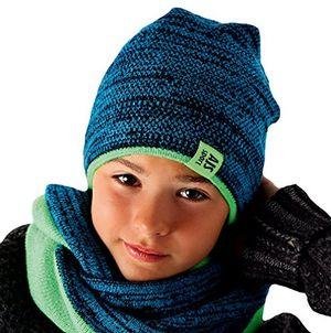 ajs jungen kinder winterset wintermütze strickmütze beanie mütze loopschal mit wolle farbe grün