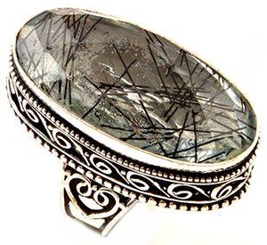 deals for - indie artisans black adel rutile ring 925 silber überzogene simulierte edelstein frauen ring uk ring größe p eu ring größe 5625