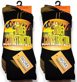 6 paar herren arbeitssocken work socks under construction des herstellers arctic fire herrensocken schwere ausführung 3 paar schwarz mit gelb und 3 paar grau mit gelb