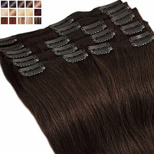 Cheap S-noilite® Extensiones de clip de pelo natural cabello humano #02 Marron oscuro - DOUBLE WEFT muy grueso - 100% Remy hair – 8 piezas 18 clips (25cm-110g) día Ventajas Desventajas Padres