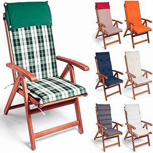 detex® 6x stuhlauflage 6er set rückhaltebänder wasserabweisend hochlehner auflage sitzauflage stuhlkissen polsterauflage vanamo farbauswahl creme anthrazit