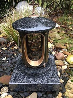 deals for - grablaterne aus granitmetallguß bronzefarben inklusive granitsockel 20cm x 20cm x 5cm grablampe impala kreuz friedhofslicht friedhofslampe grablicht