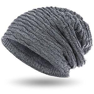 compagno wintermütze warm gefütterte mütze sportlich elegantes wabenmuster mit weichem fleece futter beanie meliert farbehellgrau meliert