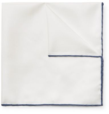 Emma Willis - Contrast-tipped Silk-twill Pocket Square - White