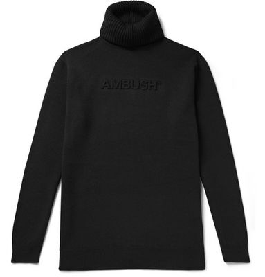 AMBUSH® - Slim-fit Logo-embossed Wool-blend Rollneck Sweater - Black