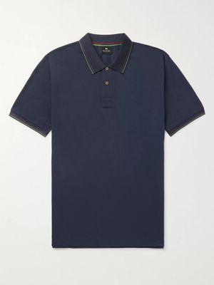 PS Paul Smith - Contrast-tipped Cotton-piqué Polo Shirt - Blue