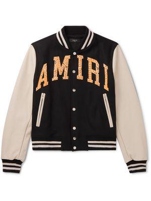 AMIRI - Logo-Appliquéd Wool-Blend and Leather Bomber Jacket - Men - Black