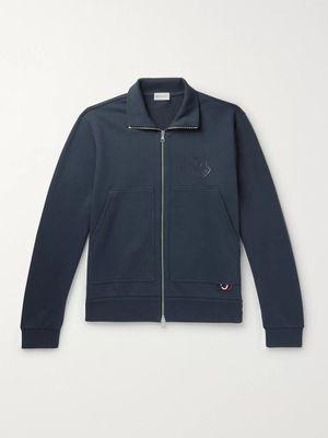 Moncler - Logo-Print Loopback Cotton-Jersey Zip-Up Sweatshirt - Men - Blue