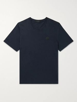 Moncler - Logo-Appliquéd Printed Cotton-Jersey T-Shirt - Men - Blue