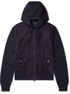 TOM FORD - Panelled Merino Wool and Suede Hooded Jacket - Men - Blue