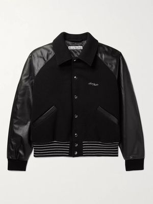 ACNE STUDIOS - Omber Cropped Padded Wool-Blend and Leather Bomber Jacket - Men - Black