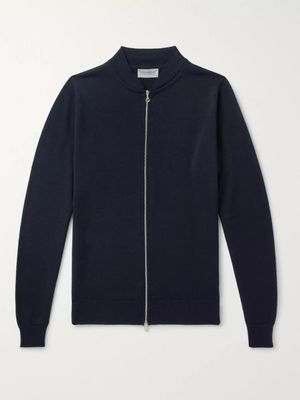 John Smedley - Maclean Slim-Fit Wool Cardigan - Men - Blue