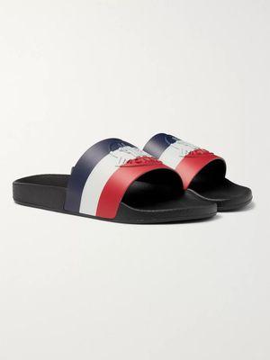 Moncler - Logo-Embossed Striped Rubber Slides - Men - Black