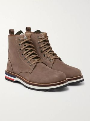 Moncler - New Vancouver Shearling-Lined Suede And Shell Boots - Men - Brown