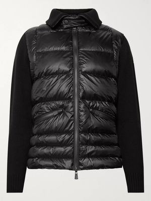 Moncler Grenoble - Wool-Blend and Quilted Shell Down Ski Jacket - Men - Black