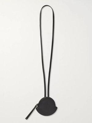 Moncler - Logo-Embossed Leather Zipped Wallet with Lanyard - Men - Black