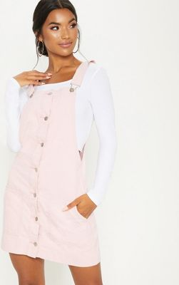 Dusty Pink Cord Pinafore Dress