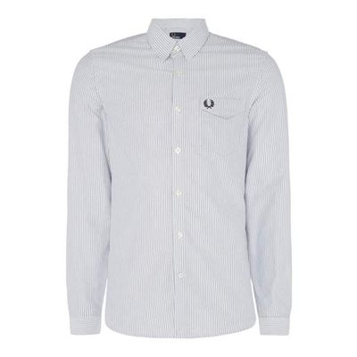 Men's Fred Perry Long sleeve oxford stripe shirt, White