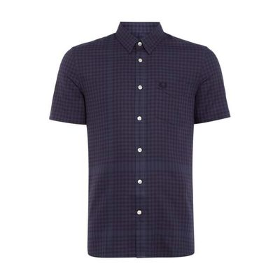 Men's Fred Perry Distorted Gingham Shirt, Dark Grey